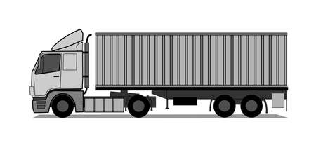 Truck with shipping container Vector