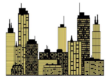 imperium: Skyline van de stad Stock Illustratie