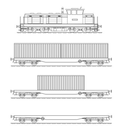 diesel train: Container train Illustration