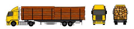 Transporte de madeira por caminh�o Ilustração