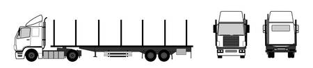stake: Truck with empty stake trailer