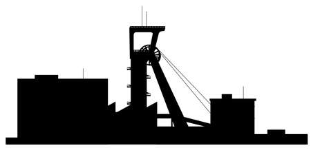 mining machinery: silhouette of building
