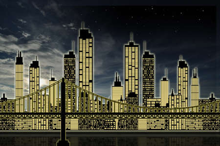 uptown: City skyline in night
