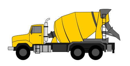 Concrete mixer truck vector Illustration