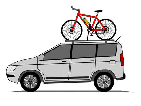 rack wheel: Offroad car with bicycle on the roof vector