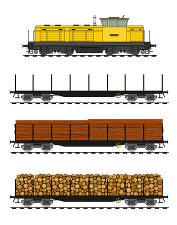 wood railroad: Freight train loaded with wood trunks.
