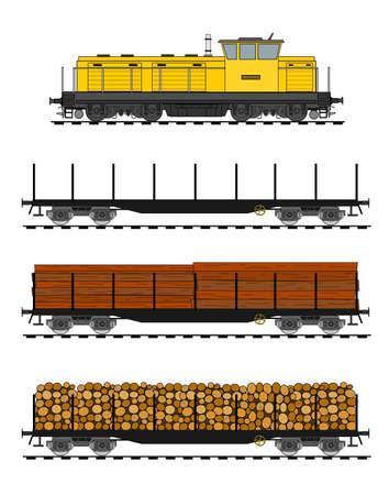 Trem de carga carregado com troncos de madeira. Ilustração