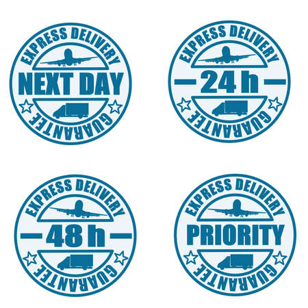 express delivery: Some types of delivery services stamps