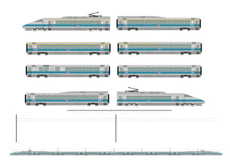 high speed railway: High speed train kit Illustration