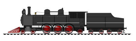 railway history: A side illustration of vintage steam lomocotive Illustration