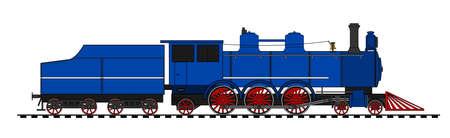 locomotora: Una ilustración del lado de la locomotora de vapor de época