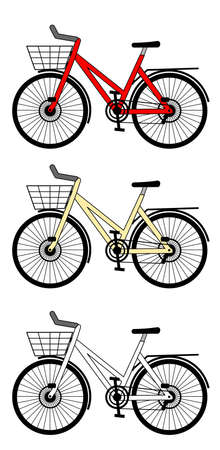 A side illustration of city bicycles   Illustration