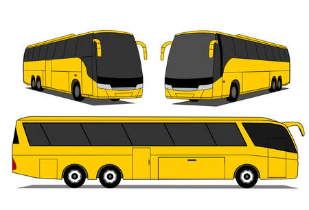 coach bus: A illustration of yellow coaches set