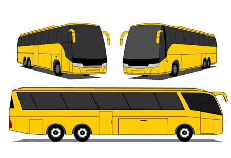 tourist bus: A illustration of yellow coaches set