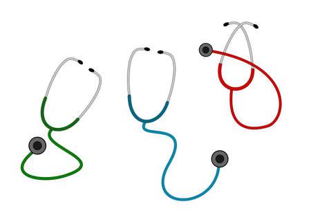 cardiac care: A illustration of three color stethoscope set