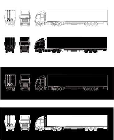 Ilustrações colaterais da silhueta caminhão semi-reboque