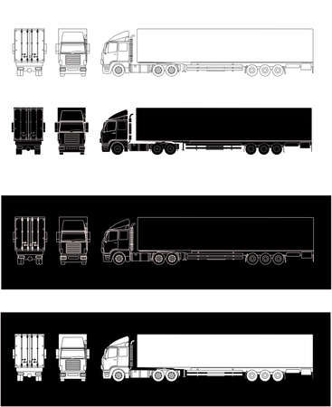 Side illustrations of semitrailer truck  silhouette