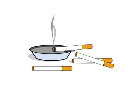 A illustration of cigarettes and ashtray .