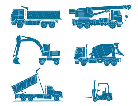 lift truck: A illustration of some types heavy vehicles . Illustration