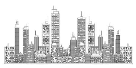 A blueprint style illustration of city skyline.
