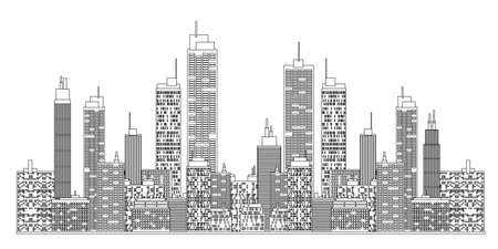new york city times square: A blueprint style illustration of city skyline.