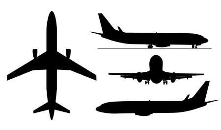 A black illustration of airplanes silhouettes .