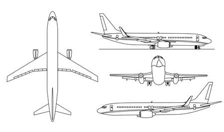 A conture illustrations of big airplanes  .