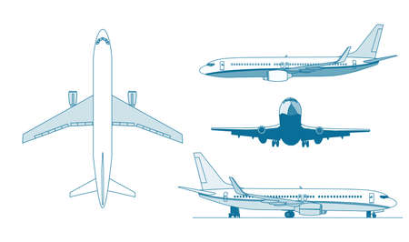 A conture illustrations of big airplanes  . Stock Vector - 17239106