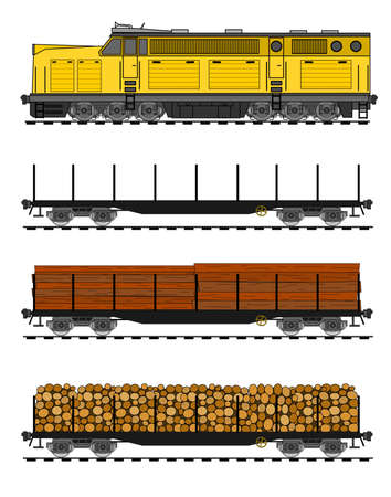 American style Freight train loaded with wood trunks. Vector