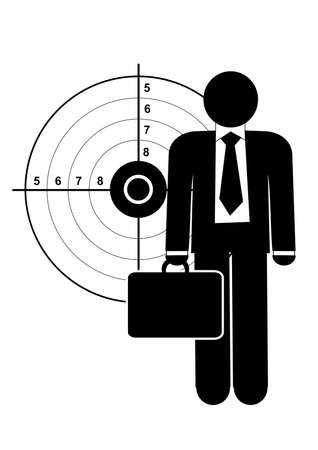 Business man in front of target Vector