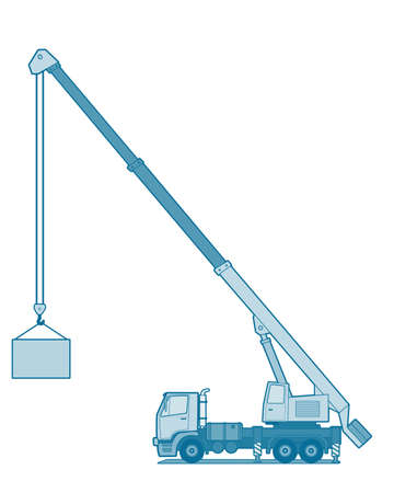 A side illustration of crane truck .