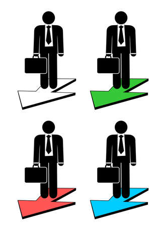 Illustration of business man on arrow . Illustration