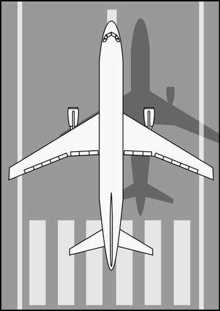 A Illustration of landing white airplane .