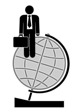 globus: Illustration of business man on arrow . Illustration