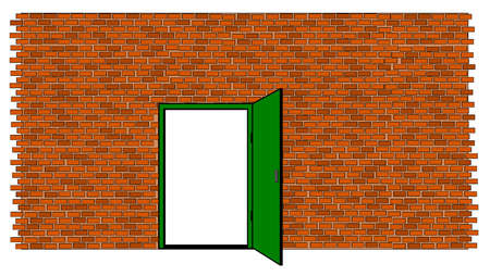 Brick wall with door open Illustration