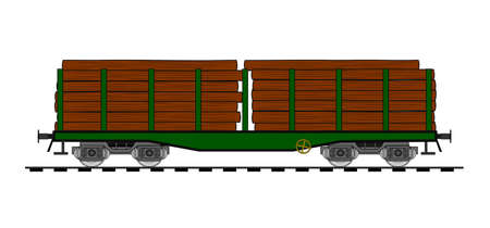 waggon: Freight flat car loaded with wood trunks Illustration
