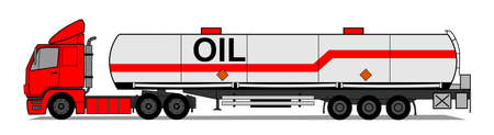 A side illustration of red tank trailer