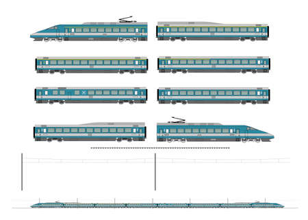 High speed train. Kit contains: 1st and 2nd class motor unit, 1st and 2nd class coach car, one 1st/2nd clas coach car, one dining car, railroad track, overhead catenary and plan to build. Stock Vector - 18385686