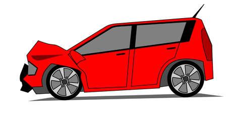 Een kant illustratie van gecrashte rode auto