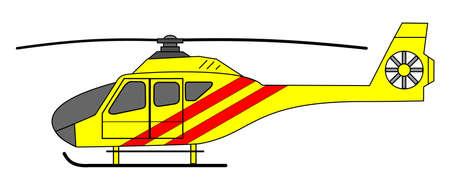 A side illustration of ambulance helicopter Illustration