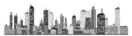 manhattan skyline: A panorama picture of city skyline Illustration