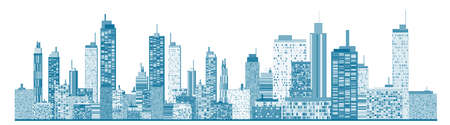A panorama picture of city skyline Illustration