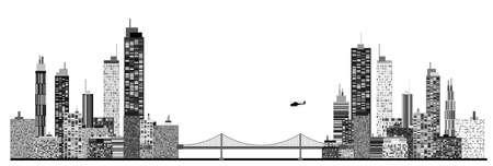 new york street: Une image panoramique de la silhouette de la ville avec le pont de cha�ne et h�licopt�re Illustration