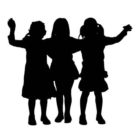three hands: A illustration of waving kids silhouette