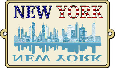 new york skyline: New York label Illustration