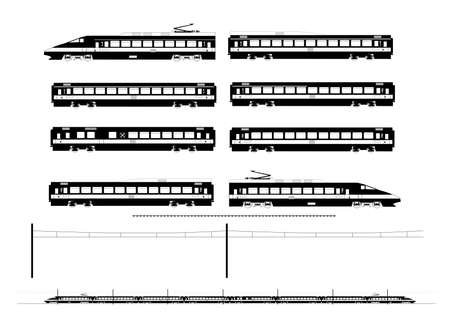 Kit contains  1st and 2nd class motor unit, 1st and 2nd class coach car, one 1st 2nd clas coach car, one dining car, railroad track, overhead catenary and plan to build  Vector