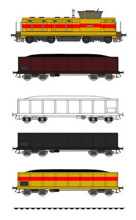 A ilustração do vetor de kit de trem de carvão