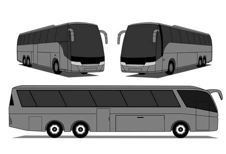 motor coach: A illustration of coach buses