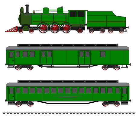 A side illustration of vintage train. Kit contain: steam locomotive, post car, personal car, tracks