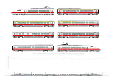 Kit contains: 1st and 2nd class motor unit, 1st and 2nd class coach car, one 1st/2nd clas coach car, one dining car, railroad track, overhead catenary and plan to build. Illustration